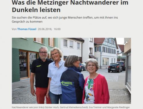 Was die Metzinger Nachtwanderer im Dunkeln leisten | Artikel im GEA vom 20.06.2018